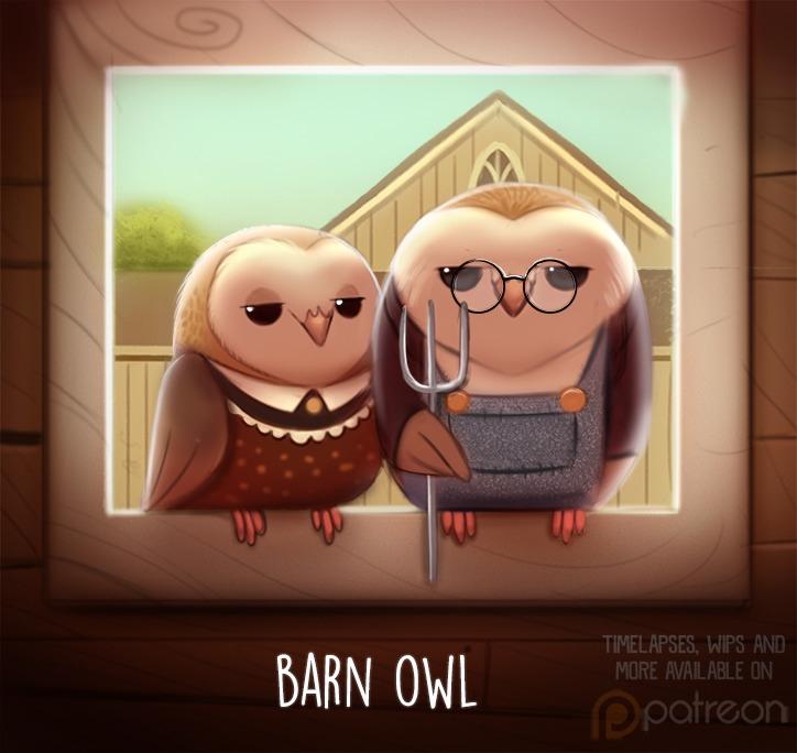 Daily Paint 1511. Barn Owl - piperthibodeau | ello