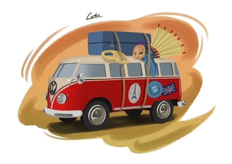 Transporter T1 - car, cartoon, digitalpainting - adamlapko | ello