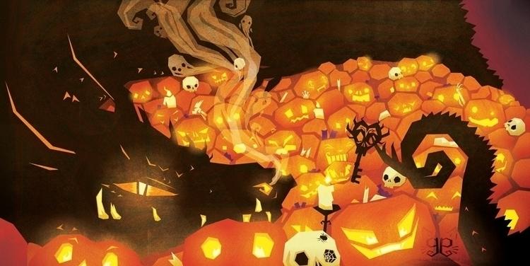 Apricot - dragon, pumpkin, halloween - gemmagould   ello