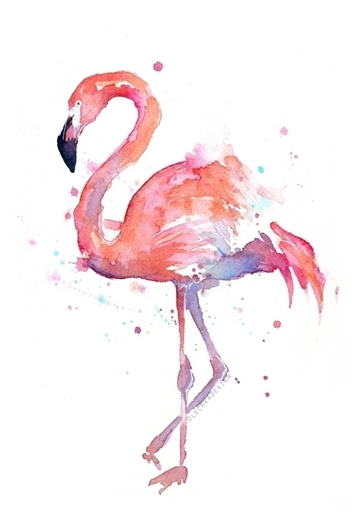 Pink Flamingo Watercolor - pink - olechkadesign | ello