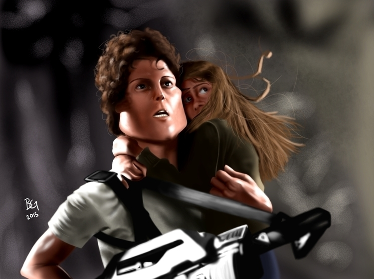 Lt Ripley - xenomorph, aliens, caricature - bwgarlick | ello