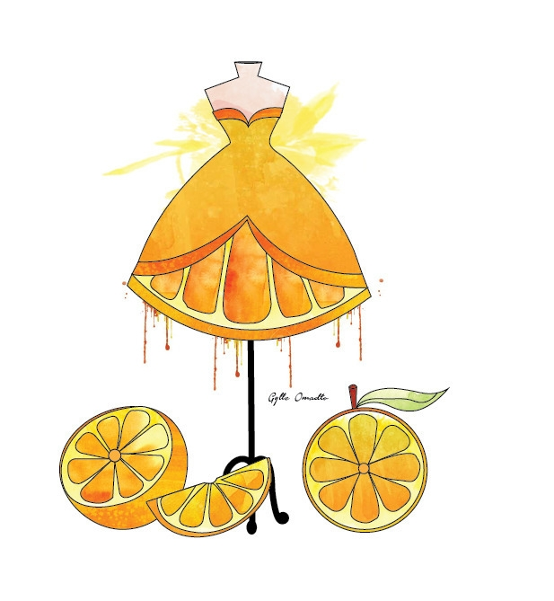 Orange inspired dress - illustration - mgylle | ello
