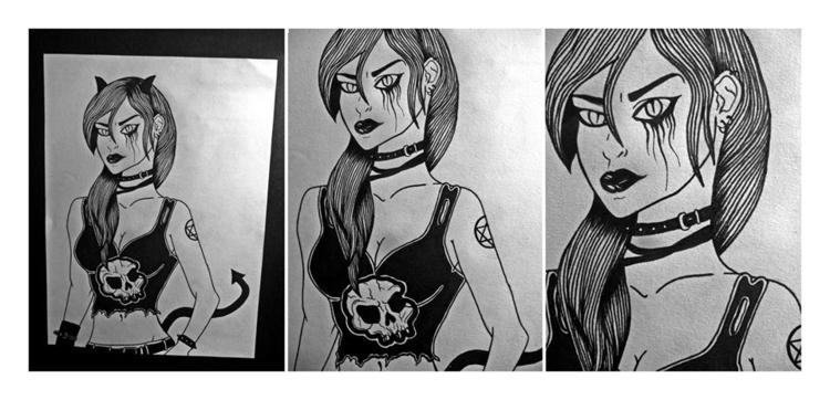 Devil - girl, devil, linework, lineart - bibs-6812 | ello