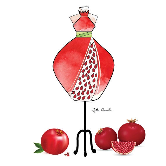 Pomegrante inspired dress - illustration - mgylle | ello