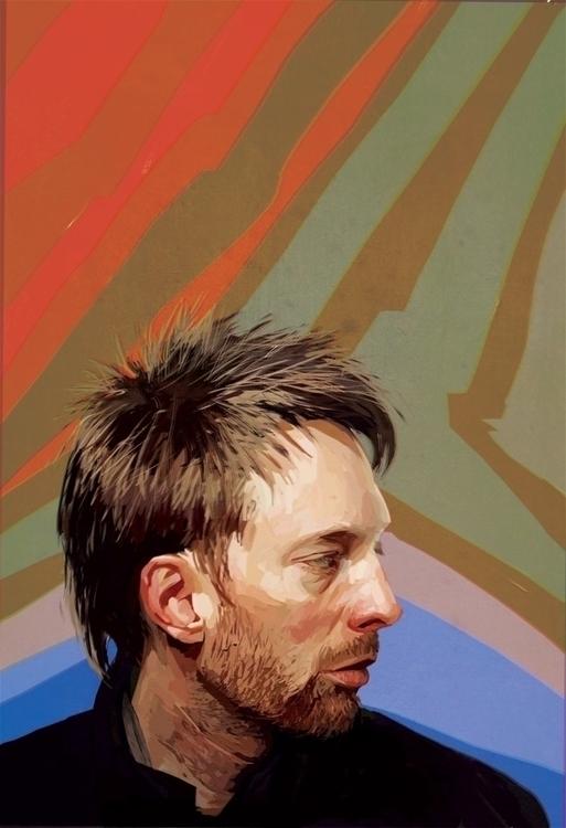 Thom Yorke - illustration, portrait - paperaffinity   ello