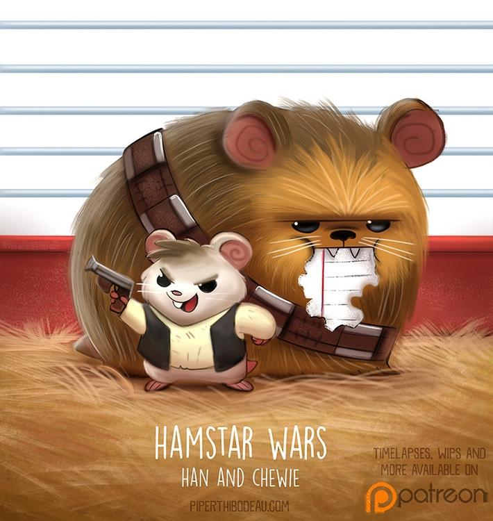 Daily Paint 1518. Hamstar Wars  - piperthibodeau | ello