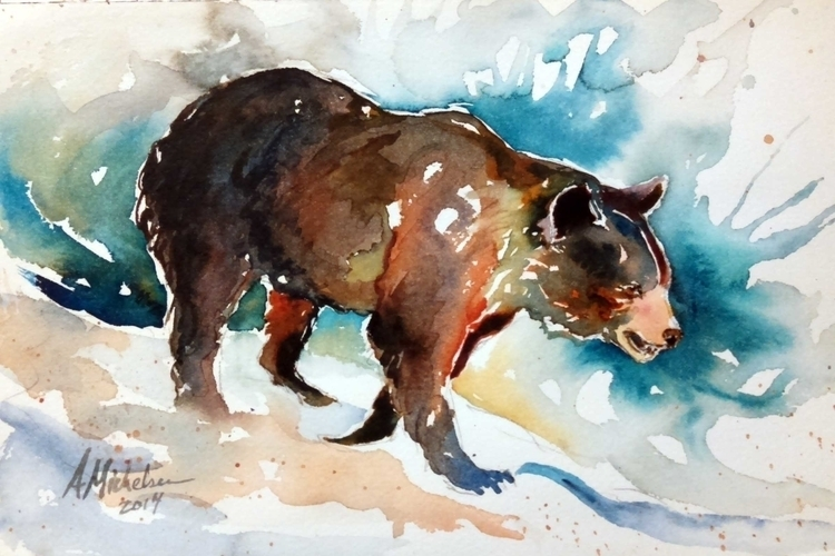 Bear - illustration, painting, watercolor - brightspirit | ello