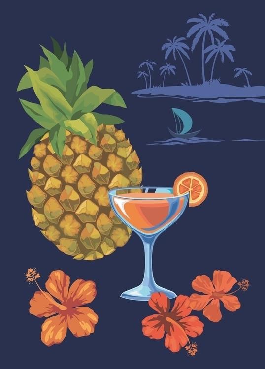 Illustration Pineapple wine - illustration - mariiakozina | ello