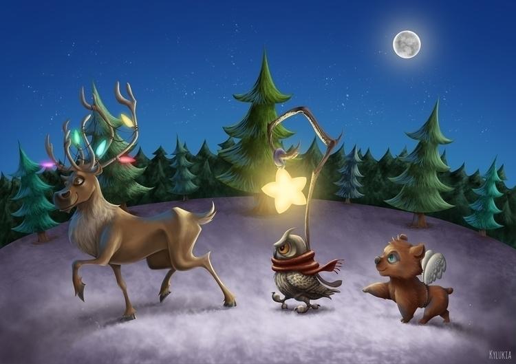 christmas, star, owl, bear, reindeer - kylukia | ello