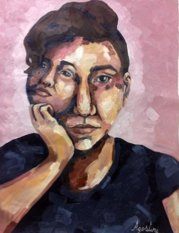 Portrait - painting, pink, selfportrait - stefaniagostini | ello