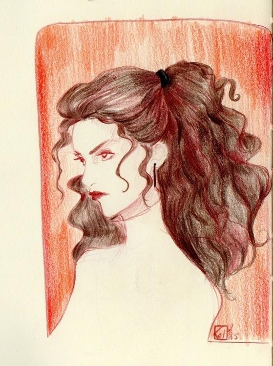 portrait, woman, brown, red - kelhyne | ello