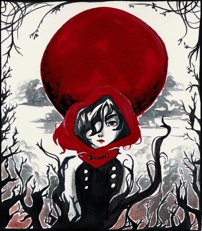 Red - inktober, inktober2014, redridinghood - fishfranqz   ello
