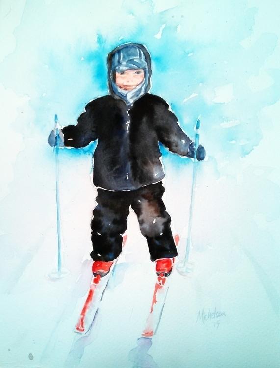 Gunner Skis - portrait, painting - brightspirit | ello