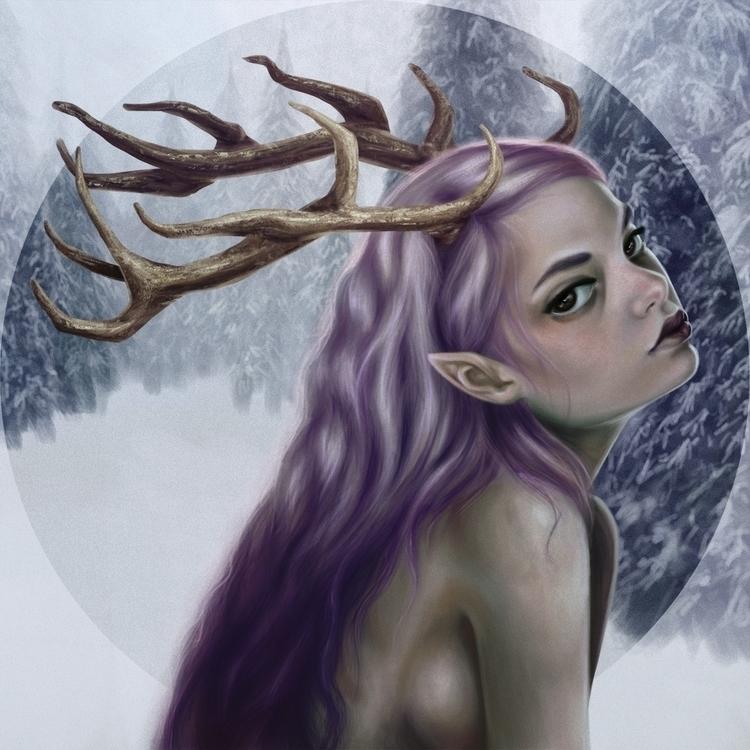 snow, antlers, girl - lisaayla | ello