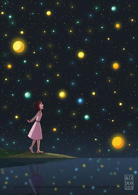 sky, night, lights, girl, illustration - alexandrasketch   ello