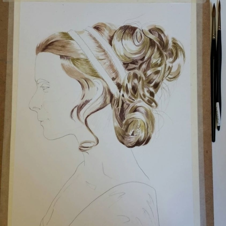 hair, hairstyles, watercolor - artolgash | ello