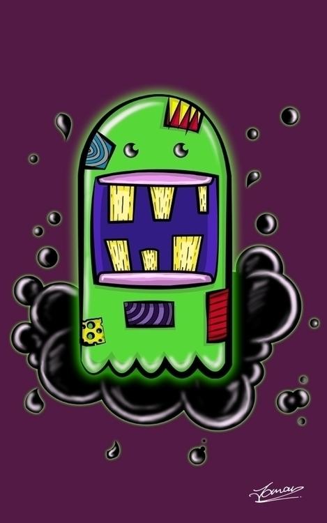 Green Blobage - illustration, characterdesign - juju_mahn336arts | ello