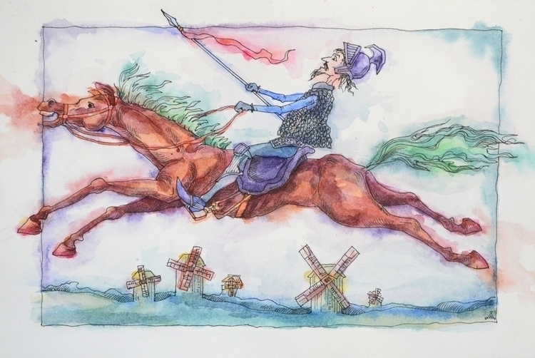 Don Quixote - illustration, watercolor - odarkaluhihi | ello