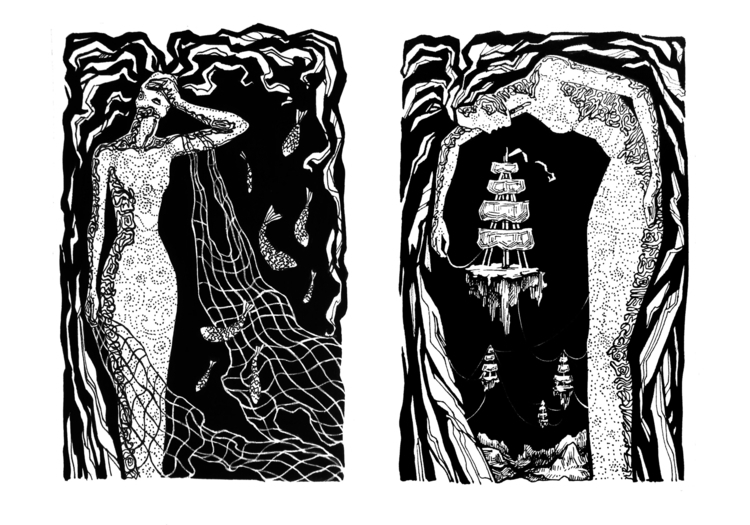 Ocean - illustration, blackandwhite - odarkaluhihi | ello