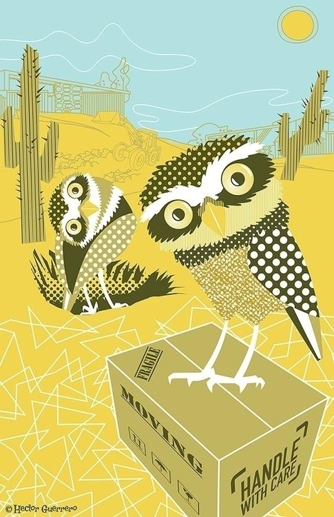 Burrowing owls - illustration, grasshopperhilldesign# - apeles | ello