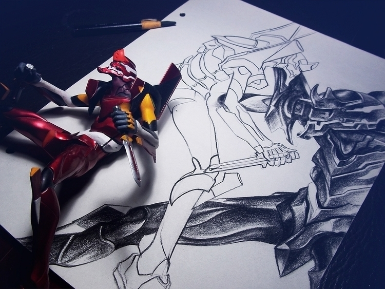 drawing, analog, fanart, evangelion - danielreyes-5557 | ello