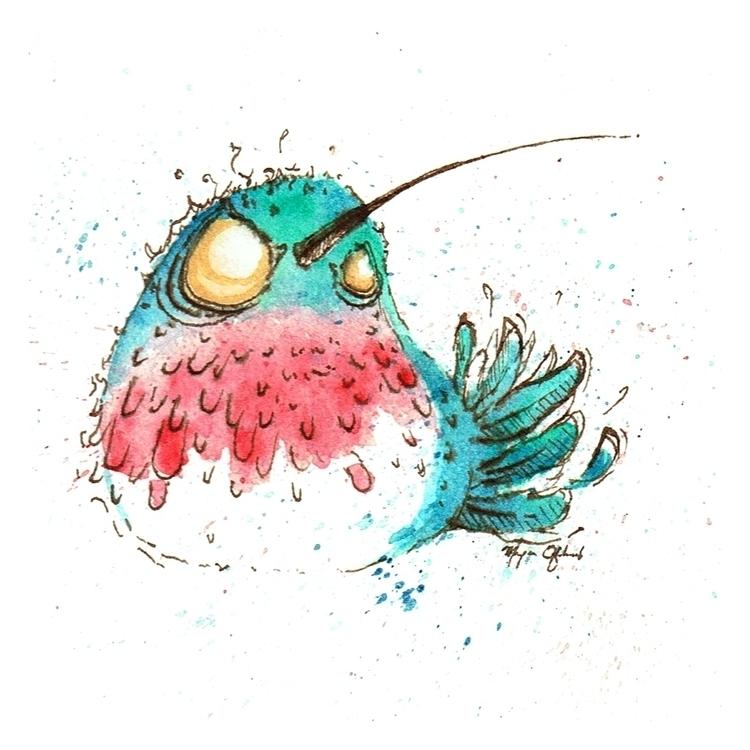 Hummingbird - illustration, watercolor - morganofsharick | ello