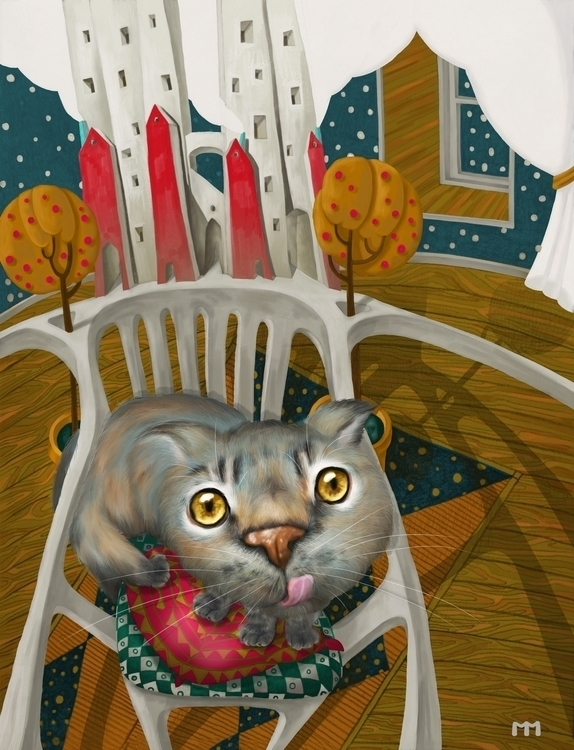cat - illustration, print, chair - marinamo-2886 | ello