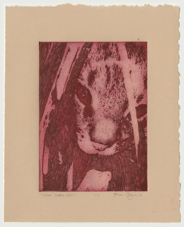 Pink Tabby Cat - cat, printmaking - morganofsharick | ello