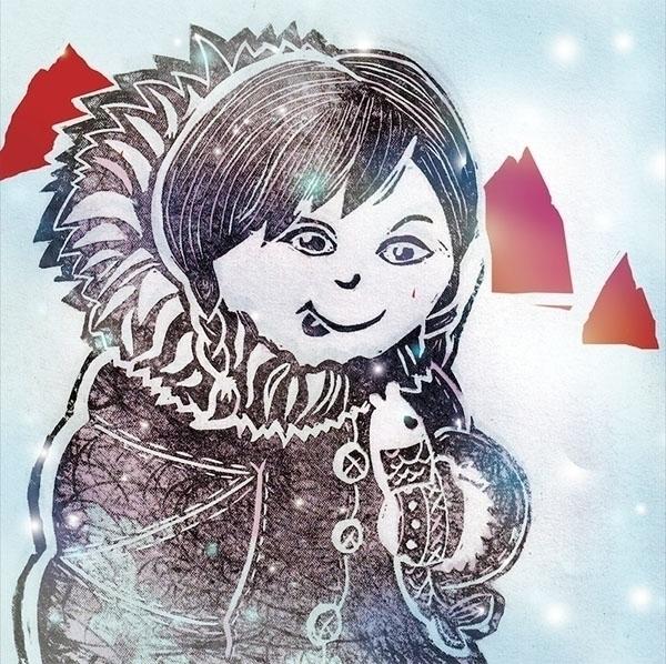 linocut Eskimo - illustration - jesenska | ello