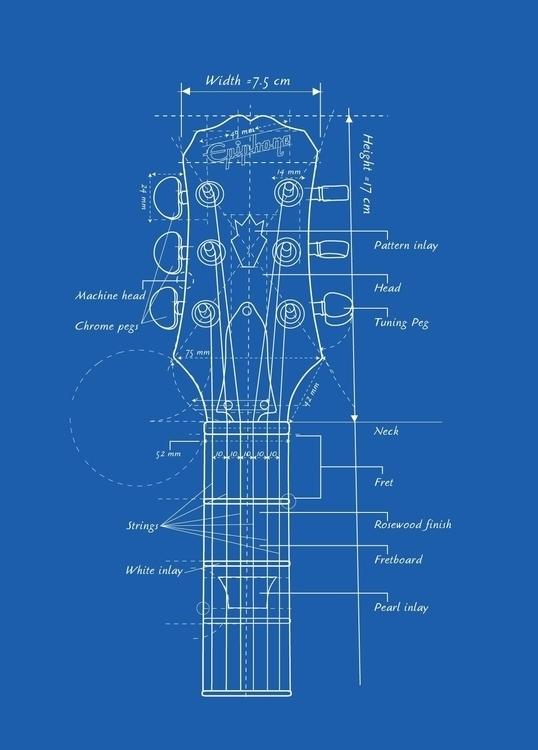 Guitar Head Blueprint - VectorArt - vantage-9372 | ello