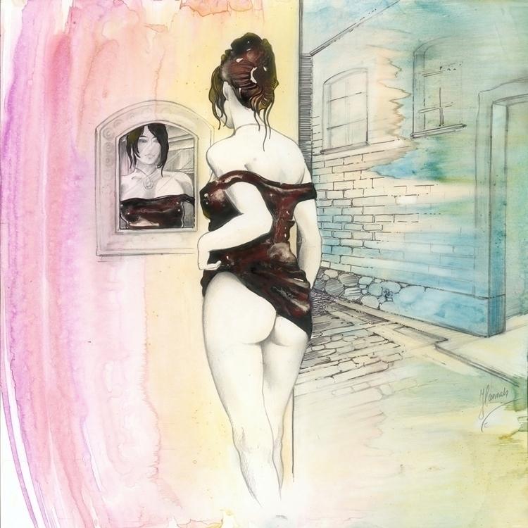 Romantic Street - watercolour,  - annahannahart | ello