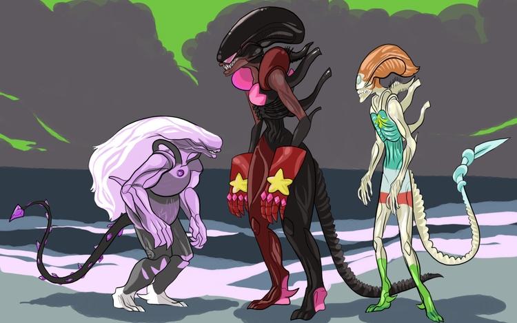 Alien Gems - aliens, stevenuniverse - professorbees | ello