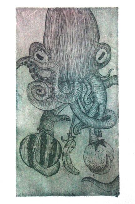 Octoguy, 2013. Etching - printmaking - emilycyr | ello