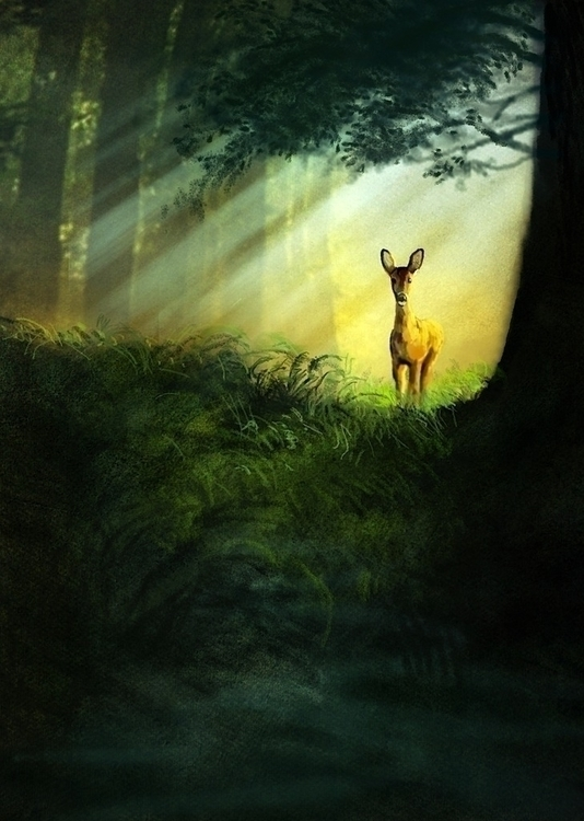 Startled Deer - illustration, painting - jeremynortonartist | ello