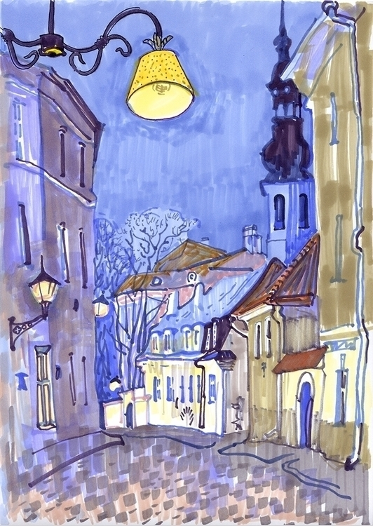 tallinn, evening, night, markers - naktisart | ello