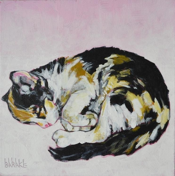 ASLEEP - cat, painting, kitten, acryliconcanvas - barakesculptor   ello