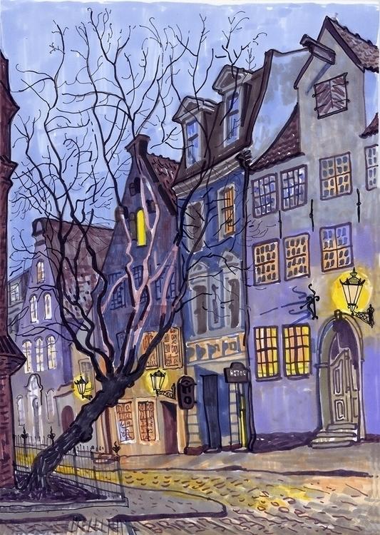 riga, night, evening, oldtown - naktisart | ello