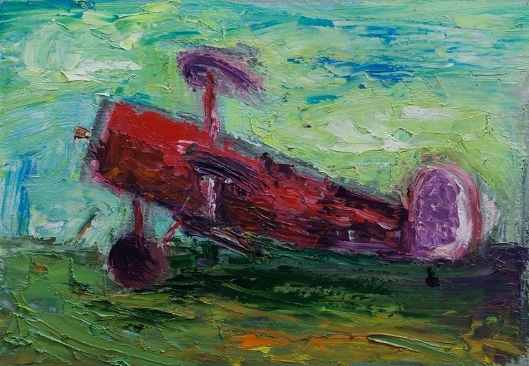 Red Plane - painting - mcmester | ello
