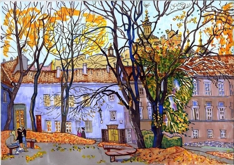 vilnius, autumn, oldtown, markers - naktisart | ello