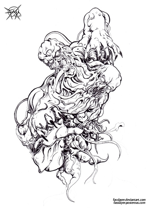 Monster, traditional lineart - horror - fasslayer | ello