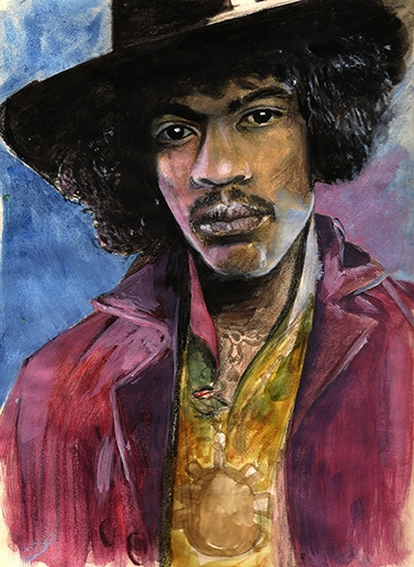 Jimmy Hendrix - illustration, painting - alecs-1191 | ello