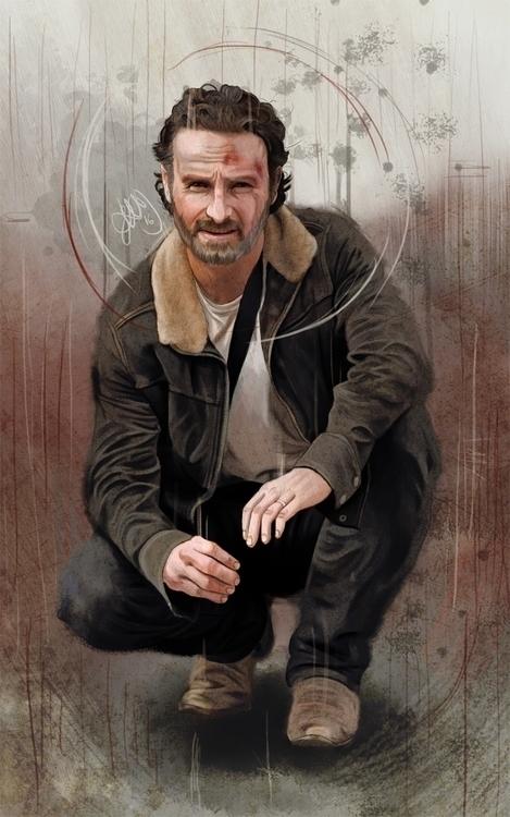 Digital painting Rick Grimes Wa - hellonsy | ello