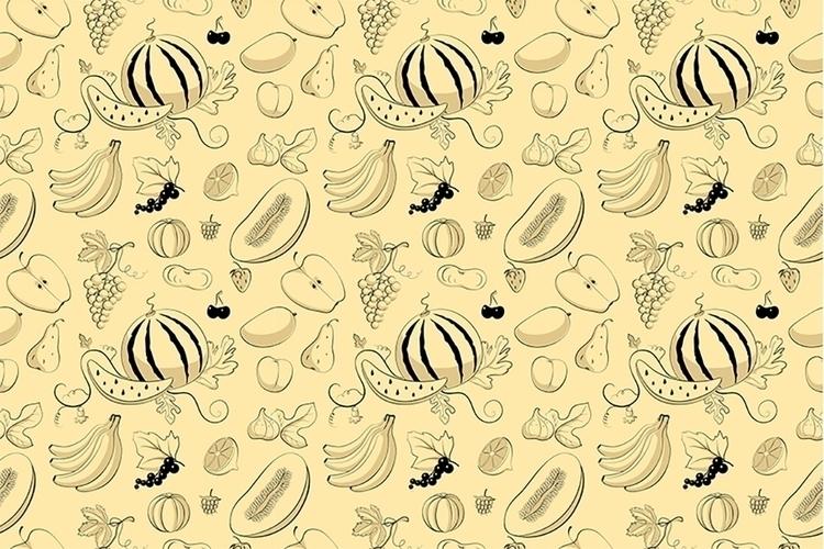 fruits - illustration, vector, pattern - ololonycolophony | ello