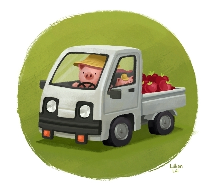 #pig#truck#animals#pigfarmer#illustration - lillisketch | ello