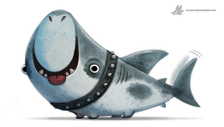 Daily Painting 909# Land Shark - piperthibodeau | ello