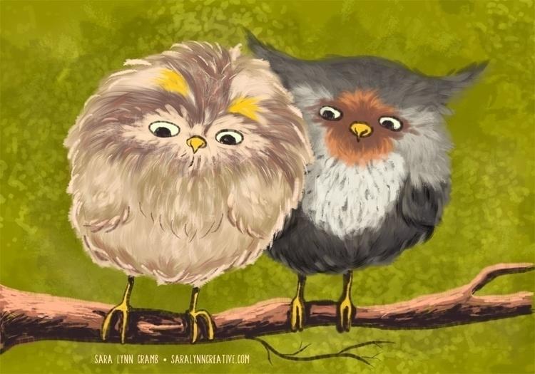 Fluffy Baby Owls - owl, owls, baby - saralynncramb | ello