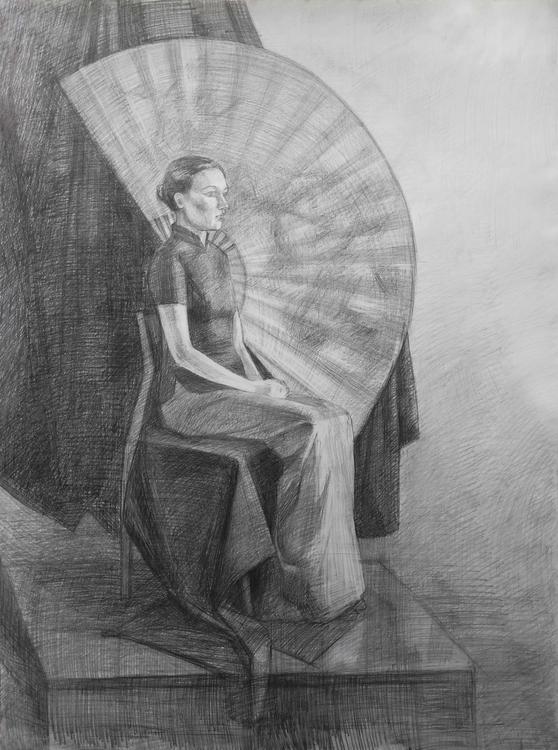 Girl fan. Paper, pencil - painting - 2djanel | ello