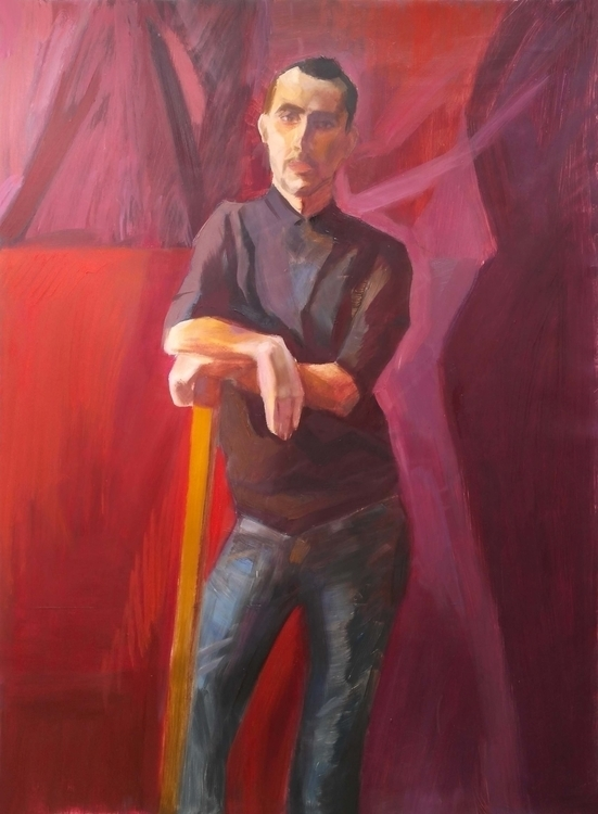 boy red background. Oil canvas - 2djanel | ello