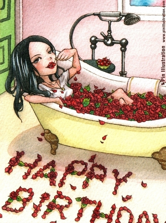 Rose Bath (Birthday card) illus - pinillustration | ello