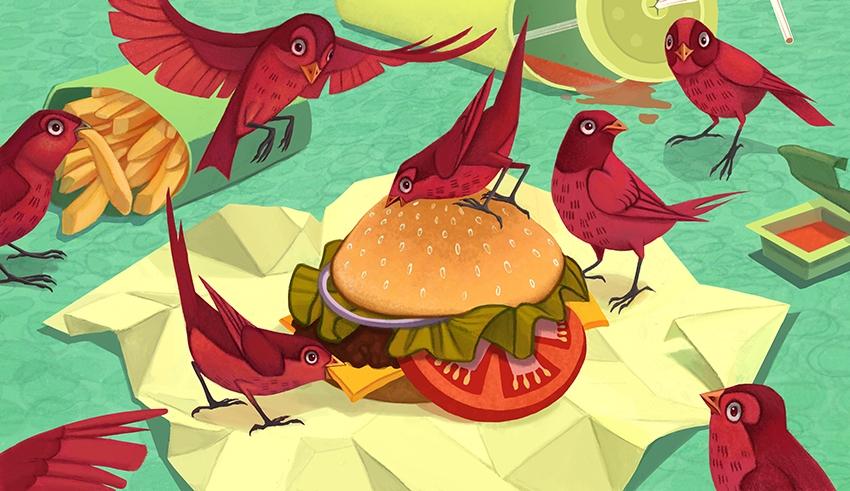 Birds - birds, fastfood - mel-1081 | ello
